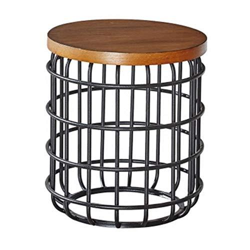 Xiaolin Naturel en Bois Parloir Table D'appoint Cage Art De Fer Petite Table Ronde Moderne Table Basse pour La Chambre À Coucher
