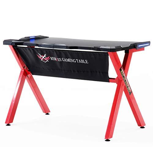 Remaxe Gaming Desk - Mesa de Juegos para Computadora, Escritorio de la Computadora, Mesa de Juegos para PC con Luces LED, Mesa de Ordenador Moderna Escritorio para Hogar o Oficina, Rojo