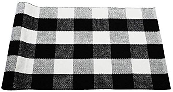 Dave Z ONE Buffalo Check Rug Cotton Washable Door Mat Hand Woven Checkered Plaid Rug For Doorway Kitchen Bathroom Entry Way Laundry Room Bedroom 3 X 5