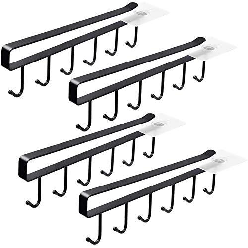 4 Pack 6 Mug Hooks Black Under Cabinet Mug Hanger Kitchen Utensil Hooks,Adhesive Cup Holder Under Cabinet Fit for 1 Inch Thickness Shelf or Less