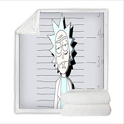 NEWAKI Rick and Morty - Manta de forro polar extra para sofá, manta mullida, para adultos y niños, microfibra, para sofá y manta de lana Anime (100 x 140 cm)