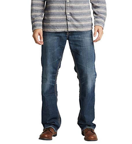 Silver Jeans Co. Men's Gordie Loose Fit Straight Leg Jeans, Dark Sandblast, 40W X 30L