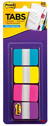 Post-it Tabs, 1 in Solid, Aqua, Yellow, Pink, Violet, 22/Color, 88/Dispenser (686-AYPV1IN)