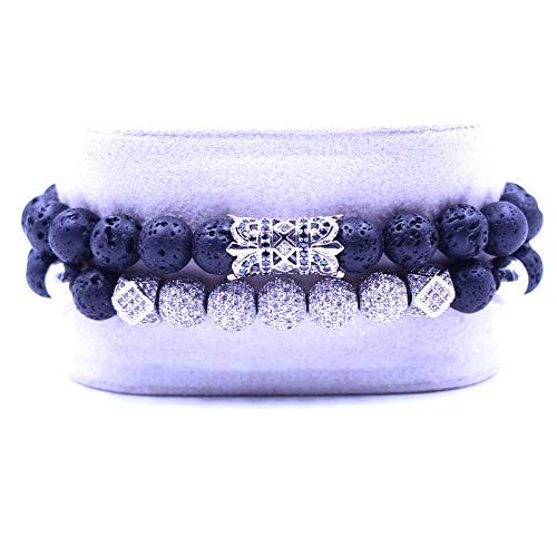 QYAQ Stone Bracelet For Women,7 Chakra Natural Lava Stone Beads Bracelet Elasticity Five Silver Ball Bracelet Fashion Boho Yoga Lady Jewelry Gift For Girlfriend Mom