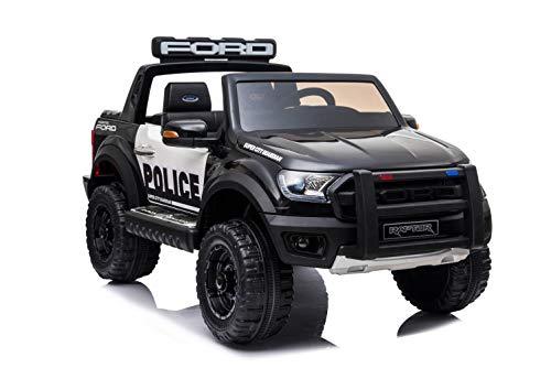 ES-TOYS Kinderfahrzeug - Elektro Auto Ford Ranger Raptor - lizenziert - Polizei Design - 12V10AH Akku,2 Motoren+ 2,4Ghz+Ledersitz+Eva