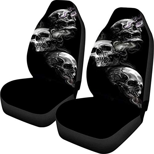 Snilety Punk Skull Pattern Auto Front Seat Covers 2 PCs for Men, Vehicle Seat Decorative Protector Car Mat Covers, Fit Most Cars, Sedan, SUV, Vans