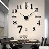 Mein HERZ Reloj de Pared DIY sin Marco Pegatina 3D Reloj de Pared Nuevo Reloj de Pared Digital árabe Espejo Acrílico Dormitorio/Sala de Estar/Pasillo/Decoración de Bar Reloj de Pared Digital Negro