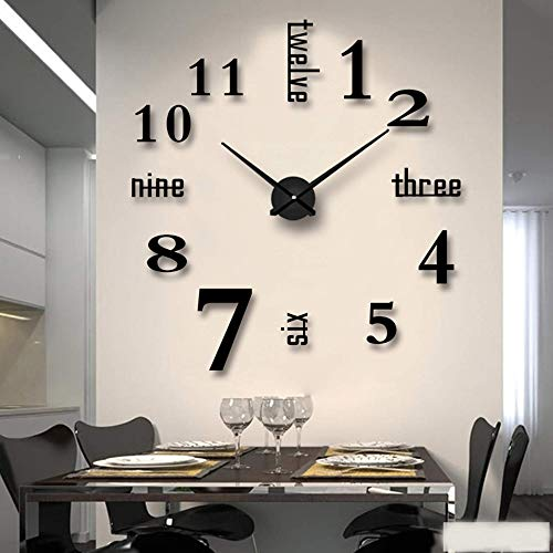 buena para elegir MY HEART Reloj de pared DIY Reloj de pared adhesivo 3D sin marco Nuevo Reloj de pared digital árabe Espejo acrílico Dormitorio / Sala de estar / Pasillo / Decoración de bar Reloj de pared digital negro