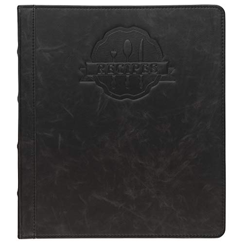 Samsill Rezeptbuch, 2,5 cm (1 Zoll), 21,6 x 11 cm, 3-Ring-Rezeptbuch für alle Ihre Rezepte und Rezeptkarten, schwarzes Familien-Rezeptbuch