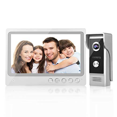 Timbre Inalámbrico, Kit de Timbre de Video WIFI de 9 Pulgadas con IP65 a Prueba de Agua, Visión Nocturna, Sistema de Acceso de Grabación de Fotos 100-240V(EU)