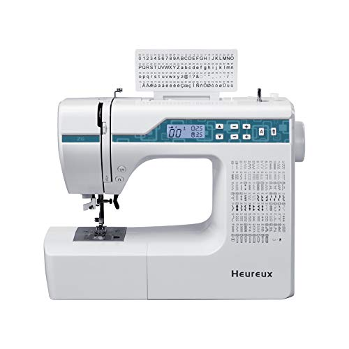 Heureux Sewing Machine Computerized and Quilting, 200 Built-in Stitches, LCD Display, Z6 Automatic Needle Threader, Twin Needle