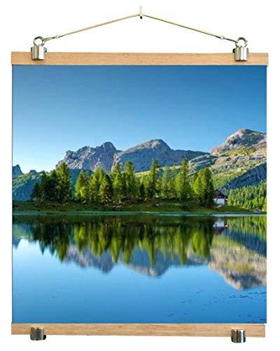 61 cm (für A1 und A2 geeignet) Posterleiste, Posterschiene, Posterrahmen, Posterhänger, Bilderleiste aus Holz (Eiche) mit Aluminium oder PVC Weiß, für dickes Material bis 2.5mm, HANDMADE IN GERMANY.