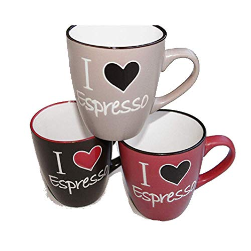 amara-global 3er Set Kaffeebecher Kaffeetasse Becher Espressotasse - mit Herz Design Love