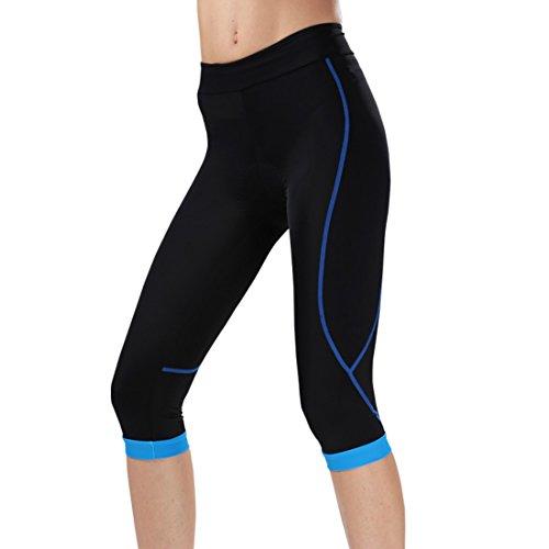 GWELL Damen Fahrradhose Radlerhose mit Sitzpolster Radhose 3/4 Komfort Slim Fit blau XL