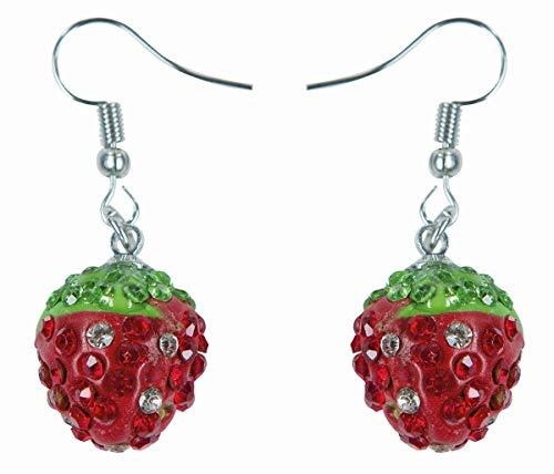 Rubie's 6102133-STD - Orecchini a Forma di Fragola, Frutta, Carnevale, Multicolore
