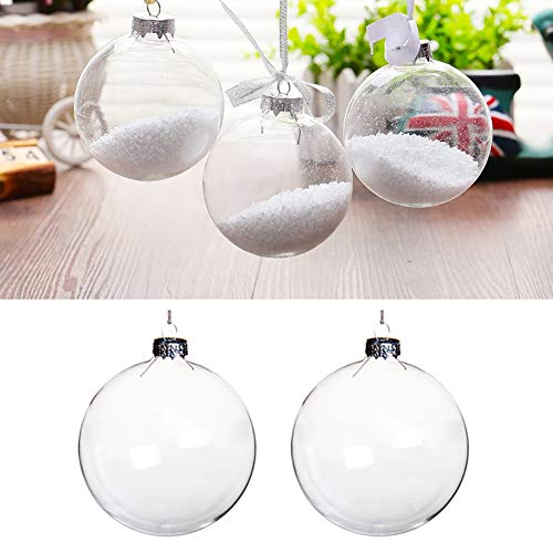 5 pcs-100mm Round Clear Glass Ball Christmas Tree Baubles Clear Glass Fillable Ornaments Ball for Christmas Party Birthday Wedding Decorations DIY Ornaments