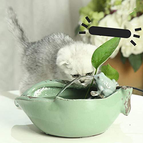 Rana Divertida Hecho A Mano Cerámica Fuente Automática De Mascotas Gato Perro Alimentador De Agua Silencio De Circulación De Agua 6 Filtros Verde