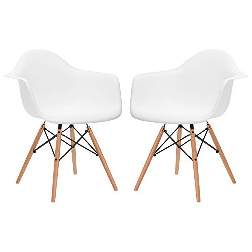 Poly and Bark Modern Mid-Century Vortex Arm Side Chair with Natural Wood Legs for Kitchen, Living Room and Dining Room, White (Set of 2)