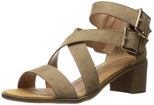 RAMPAGE Women's Havarti Casual Buckle Block Heel Sandal, Taupe Micro, 6 M US