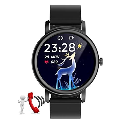 HQPCAHL Smartwatch Relojes Inteligentes Bluetooth recibe Llamadas, Fitness Reloj Deportivo con Pulsómetro, Monitor de Sueño 1.28'' de Reloj Deportivo con Podómetro para Android iOS,Negro