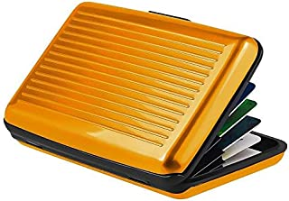 Waterproof Business ID Rfid Blocking Credit Card Holder Wallet Pocket Case Aluminum Metal (Gold)