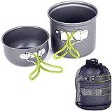 Kyman Campeggio Esterno Stoviglie, Portatile Picnic Cookware Backpacking Outdoor Pan Pot da tavola Picnic for Caccia Pesca, Alluminio Cucinare Insieme 1-2people