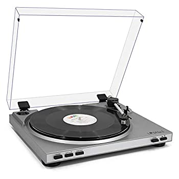 LP&No.1 Pro USB Record Player Automatic Return Belt-Drive 2 Speed Turntable Full Size Die-Cast Aluminum Platter Dust Cover Anti-Resonance Moving Magnet Cartridge,Silver