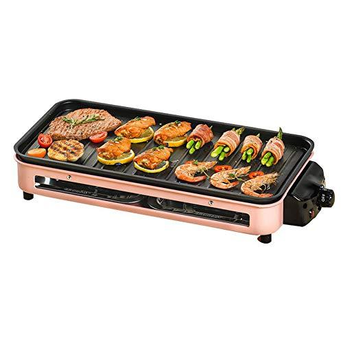 Yangyang Elektrogrill Tischgrill,BBQ Tischgrill mit Glasdeckel, Elektrogrill, Barbecue elektrisch Grillfläsche, Grillpaltte 1800W Verstellbarer Thermostat