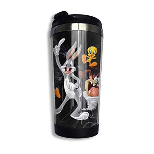 Heyuchuan Bugs Bunny & Taz Tweety Daffy Travel Insulated Cup Thermos Coffee Stainless Steel Mug