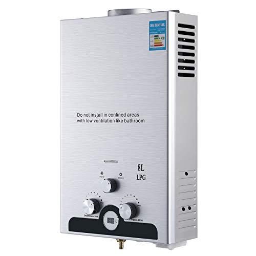 Z ZELUS Scaldabagno a Gas LPG Riscaldatore di Acqua Istantaneo a Gas Propano GPL senza Serbatoio a Gas Liquefatto Automatico Con Digitale LCD Doccia Istantanea di Acqua Calda (8 L)