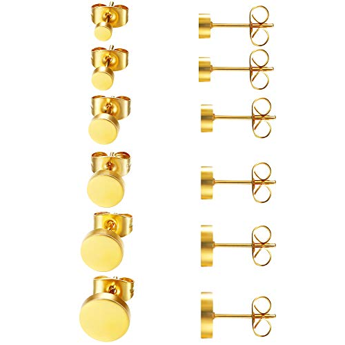 6 Pairs Surgical Stainless Steel Gold Stud Earrings for Men Women Girl Boy, Men Earrings Studs, Women Earrings Gold,Tiny Gold Earrings Studs Men Women Small Piercing Fake Plugs Hypoallergenic 3MM-8MM