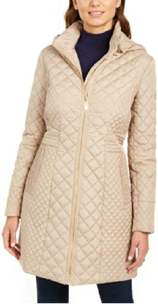 VIA SPIGA Detachable-Hood Zig-zag Quilted Coat Champagne Size XL