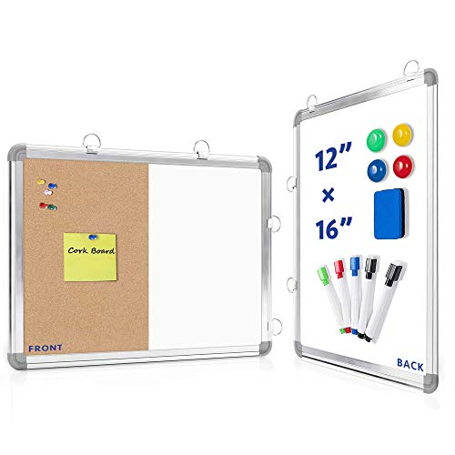 """Combination White Board & Cork Board ,Ncozwo 12"""" x 16"""" Hanging Bulletin Combo Board for Wall with 5 Markers,4 Magnets and 1 Magnetic Dry Eraser,Portable Mini Magnetic Board for Drawing & Planning"""