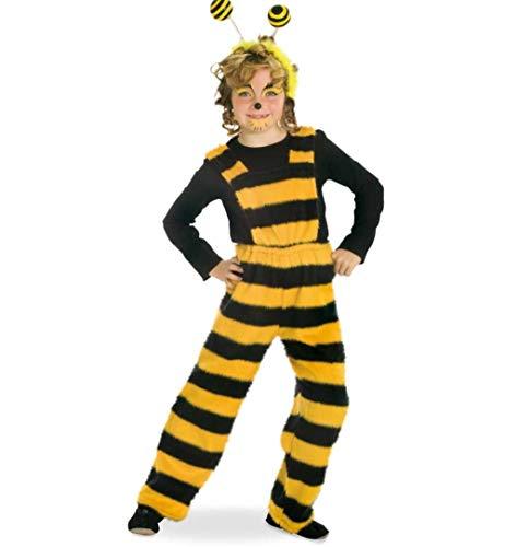 KarnevalsTeufel Kinderkostüm-Set Biene Latzhose und Haarreif mit Federn in schwarz-gelb Wabbles Hose Bienchen Verkleidung (128)