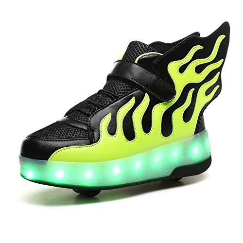 Zapatillas de skate para niños y niñas con LED, con doble rueda, para deportes al aire libre, gimnasia, fitness, carga USB, 7 colores intermitentes y luminosos., color Verde, talla 31 EU