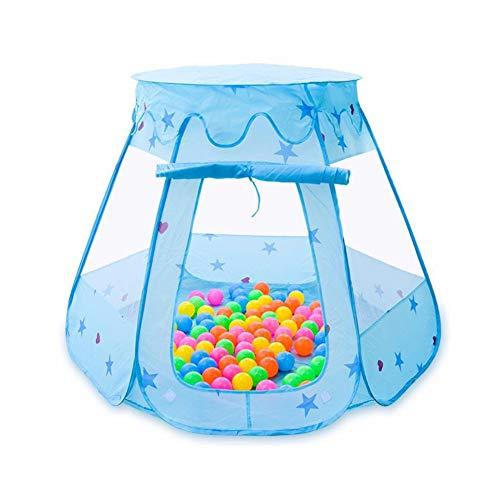 HBIAO Corral Bebe, Carpa de Seguridad para los niños Juego de Dibujos Animados Juego de plástico Juego de Pelota de mar Barandilla para bebés y niños pequeños,Blue