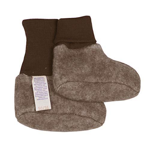 Cosilana Baby Fleece Schühchen kbT Wolle Bio Baumwolle (62-68, Braun-Melange)