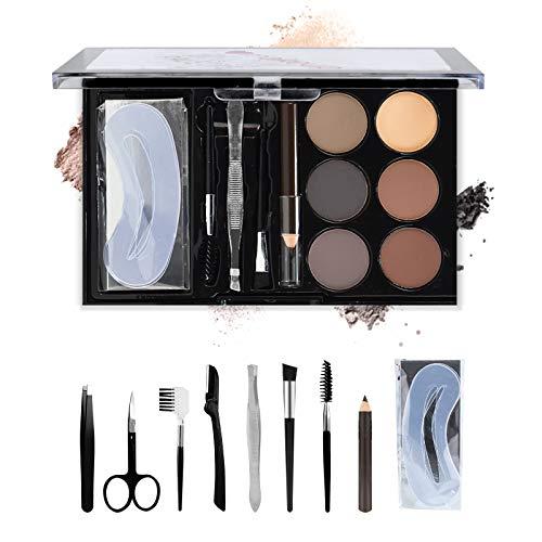 Freeorr 6 Farben Augenbrauenpuder Kit, mit Augenbrauen Pinsel Augenbrauen Schablonen, Augenbrauen Kontur Palette Professionelles Eyebrow Powder Set B