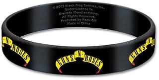 Guns N Roses Black Wristband Gummy Rubber Bracelet Band Logo Fan 100% Official