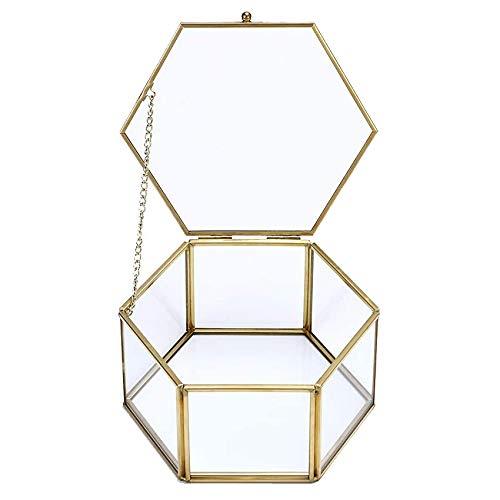Kaxofang Caja de Almacenamiento Caja de Cristal GeoméTrica Vintage para Joya Anillo Pendiente Retro Plantas de Flores Caja de PresentacióN Estuche Organizador de Maquillaje-L