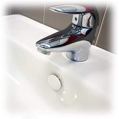 Fischer Tappo Troppo Pieno TTP K Bianco Coperchio Adatto per Foro su lavabi, lavandini e Bidet, per bagni e cucine, 551886