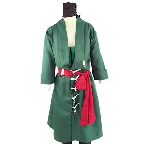 YKJ Anime Cosplay Kostüm Dunkelgrüner Mantel Trenchcoat Und Hosen Party Kostüm Komplettset,Green-S