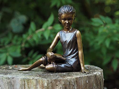 H. Packmor GmbH Bronzefigur sitzendes lesendes Mädchen Gartendekoration Dekorationsfigur