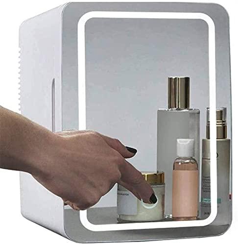 Mini refrigerador de maquillaje portátil de 8L, 2 en 1 Mirror de maquillaje Frigorífico de cuidado de la piel con luz LED, refrigerador portátil compacto Mini refrigerador para vehículo, RV, barco, vi