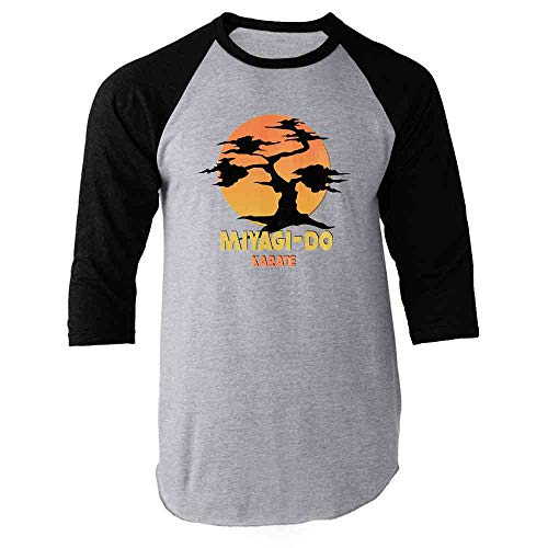 Karate Kid Miyagi-Do Dojo Bonsai Sunset Costume Black L Raglan Baseball Tee Shirt
