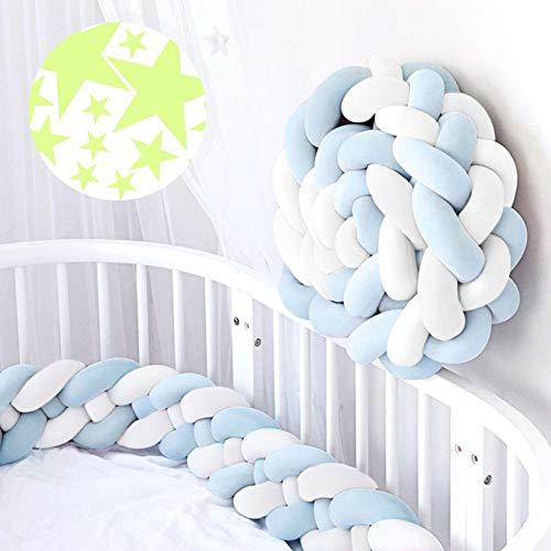 ACTENLY 220cm Baby 4 Weben Babybett Bettumrandung Nestchen Stoßstang Kantenschutz Kopfschutz für Kinderbett Bettumfang (Weiß+Weiß+Blau+Blau & 50 Stück Leuchtende Sterne Wandtattoo)