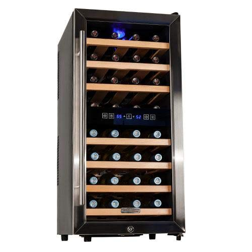 Koldfront TWR327ESS 32 Bottle Free Standing Dual Zone Wine Cooler - Black and Stainless Steel