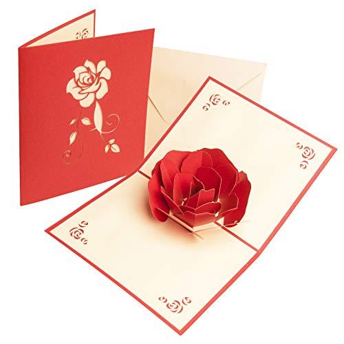KIMI-HOSI Biglietti di Auguri con Busta Cartolina D'auguri Pop-Up 3D Carta di San Valentino Rosa...