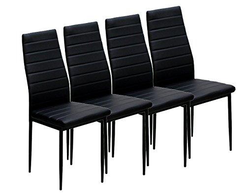 EBS Set Sedia, Sedie da Pranzo di Moda Ecopelle, Sala, Cucina - Confezione da 4, Nero