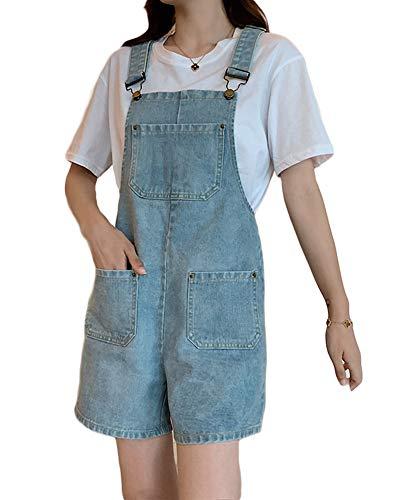 Bracelet Poches dans L'ensemble Bavoir Baggy Femmes Combishort Pantalons Simple Manches Jumpsuit Shorts Denim,Light Blue,M